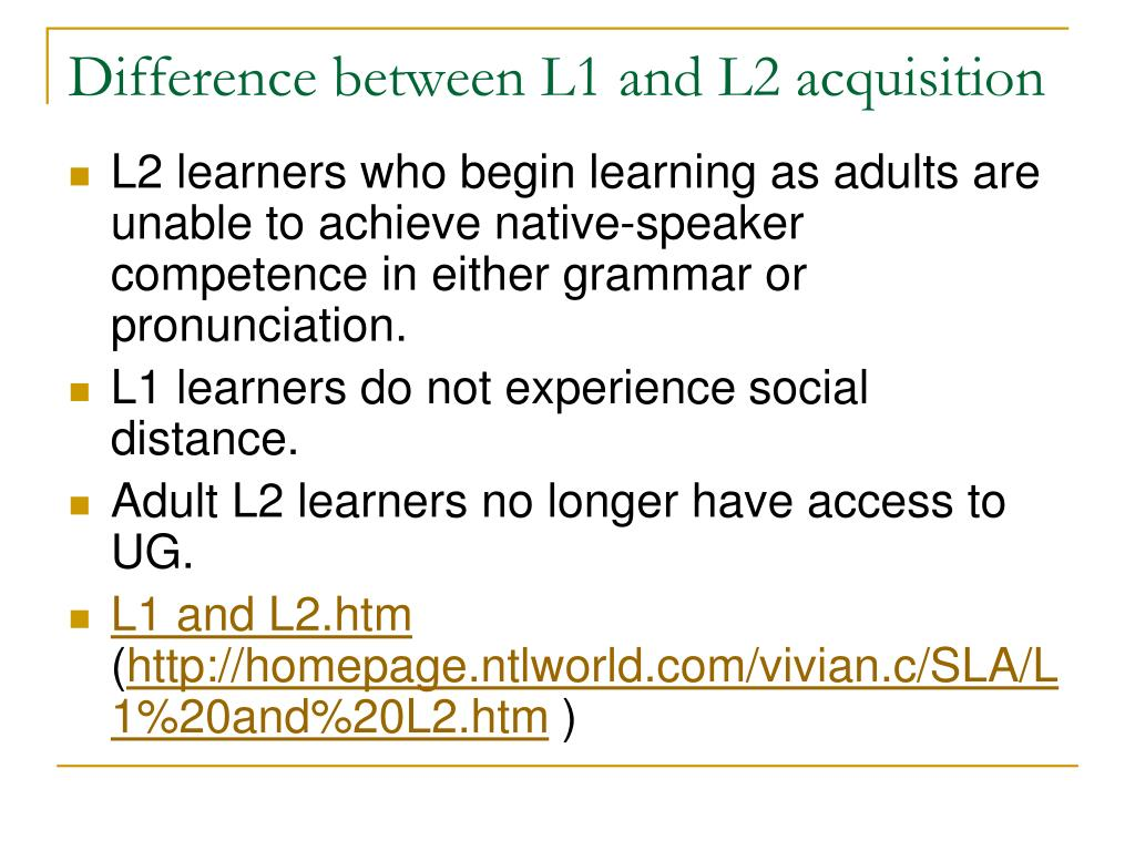 Difference between L1 and L2 acquisition