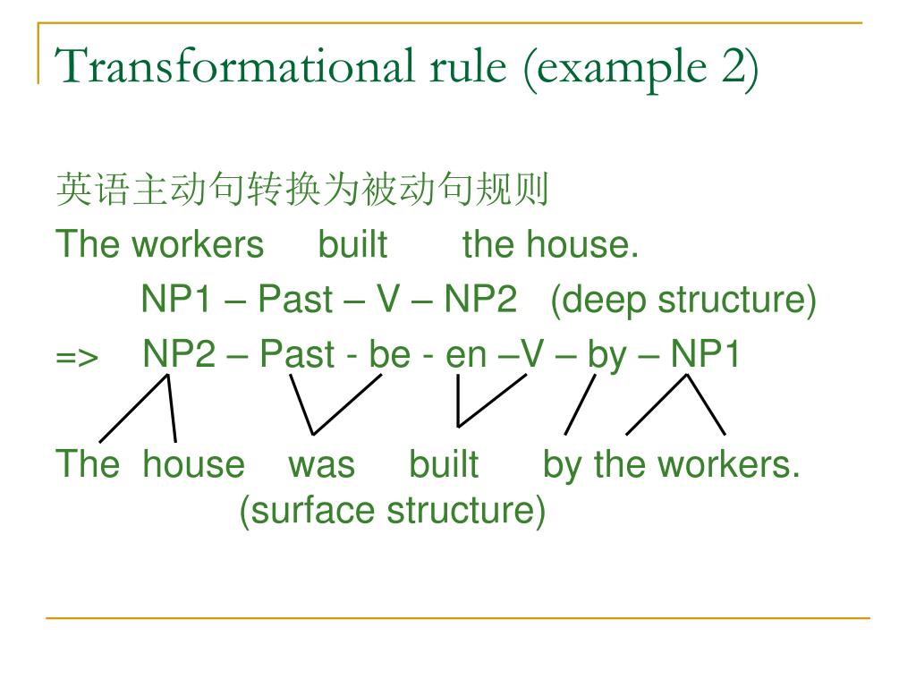 Transformational rule (example 2)