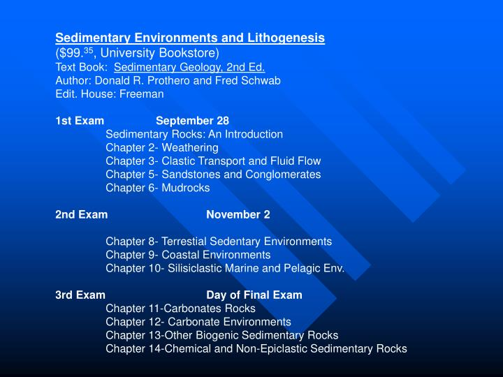 Sedimentary Environments and Lithogenesis