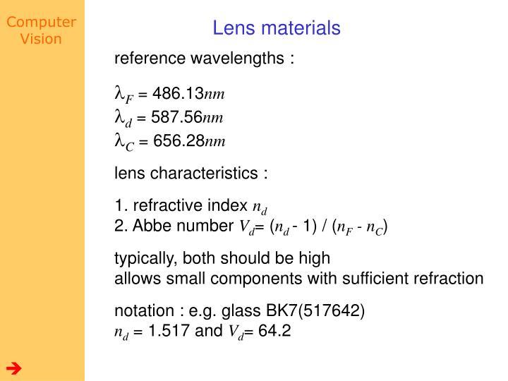 Lens materials