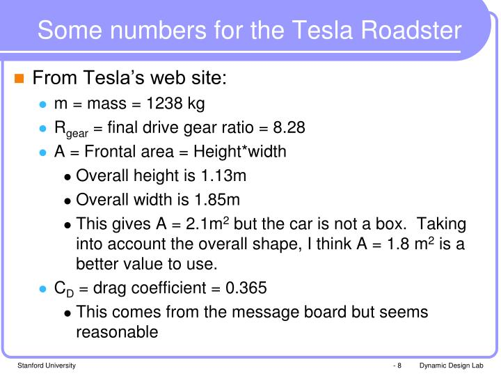 Some numbers for the Tesla Roadster
