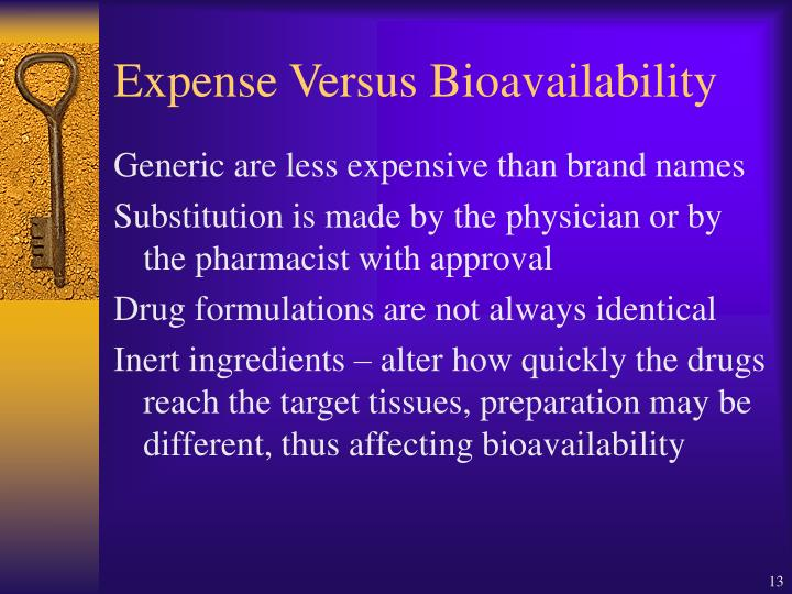 Expense Versus Bioavailability