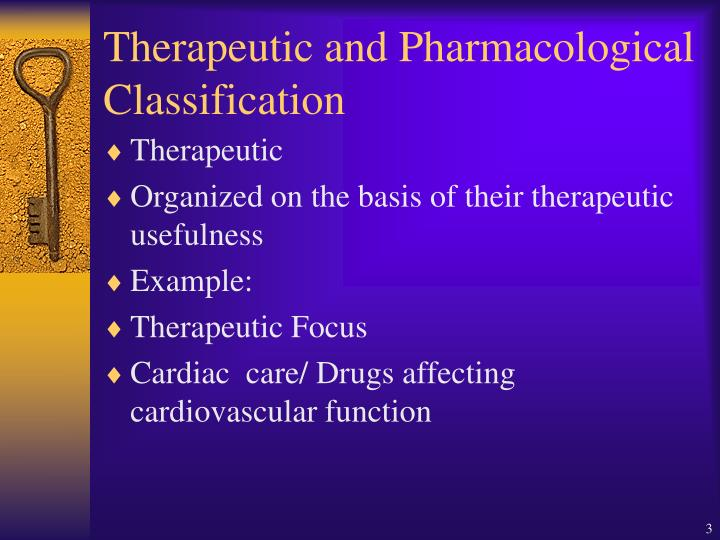 Therapeutic and pharmacological classification
