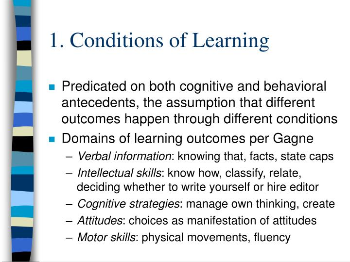 1. Conditions of Learning