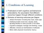 1 conditions of learning