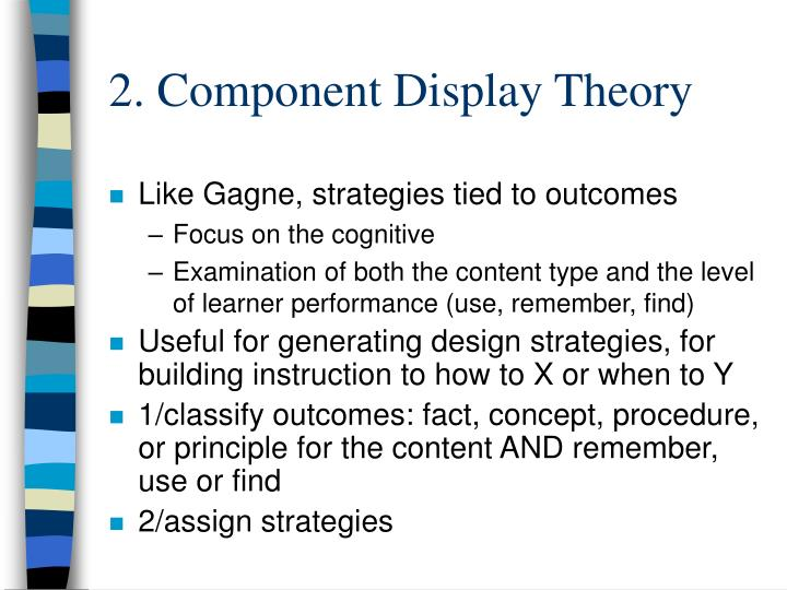 2. Component Display Theory