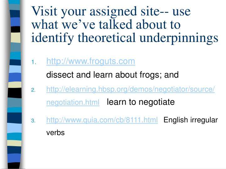 Visit your assigned site-- use what we've talked about to identify theoretical underpinnings