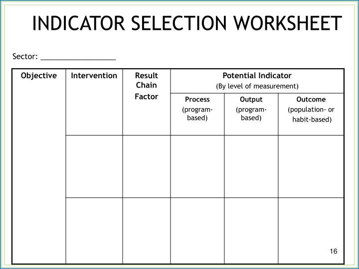 INDICATOR SELECTION WORKSHEET