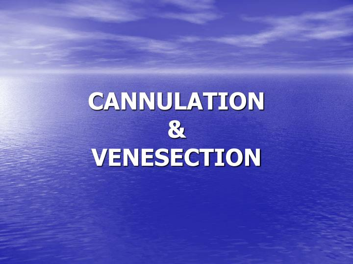 Cannulation venesection
