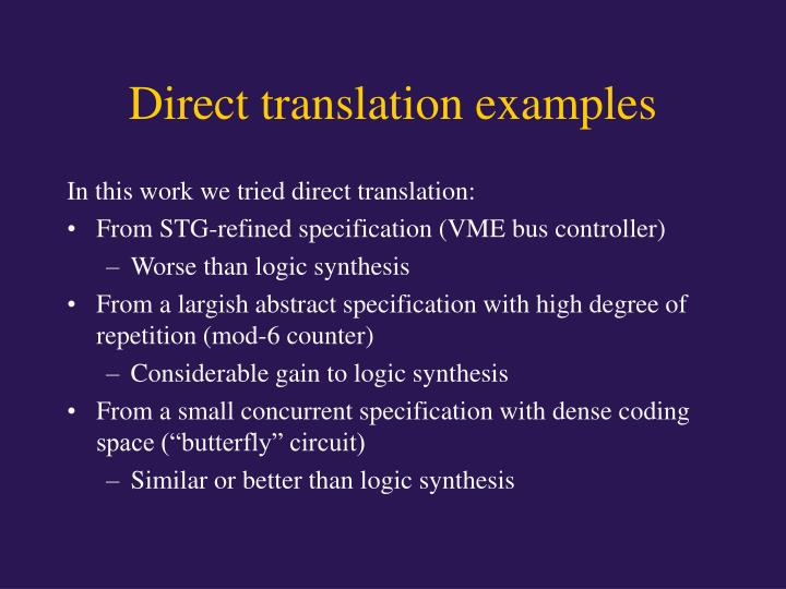 Direct translation examples
