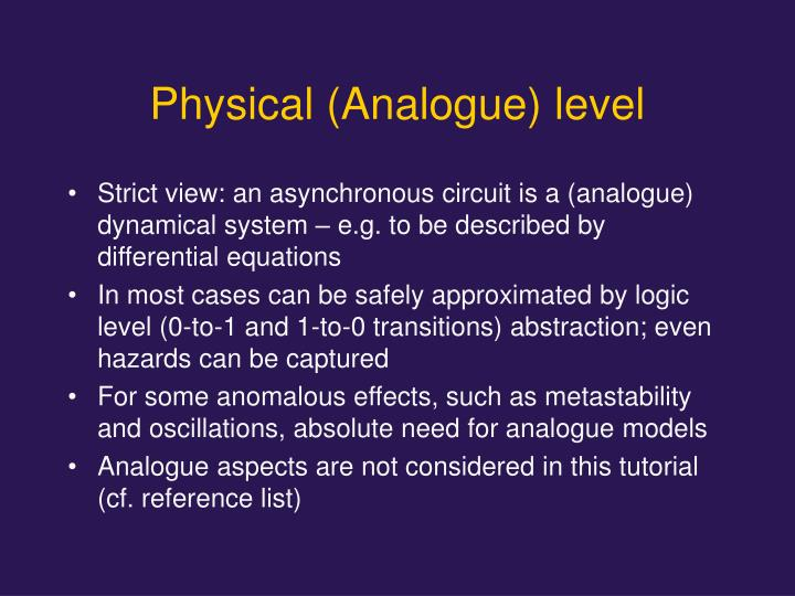 Physical (Analogue) level