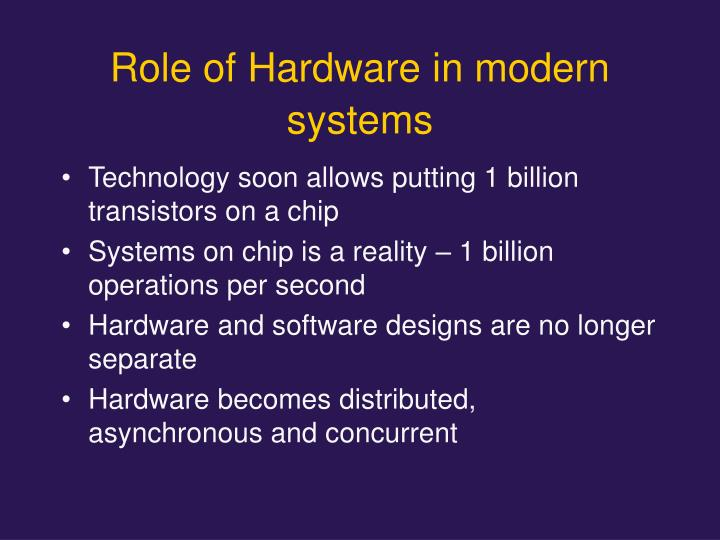 Role of Hardware in modern systems