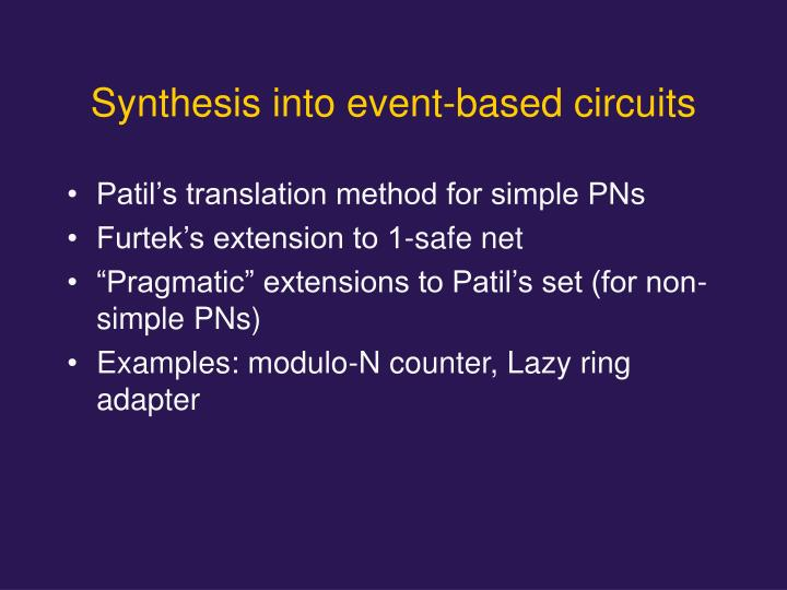 Synthesis into event-based circuits