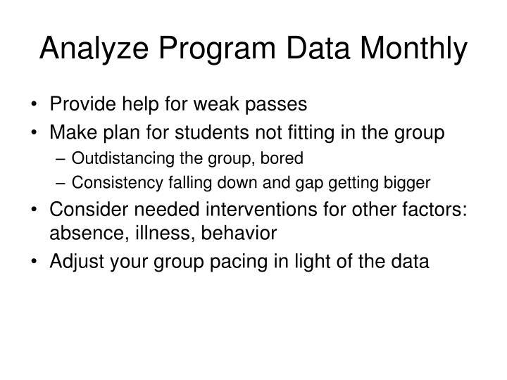 Analyze Program Data Monthly
