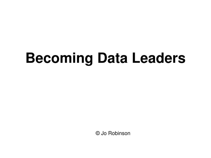 Becoming data leaders