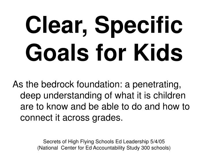Clear, Specific Goals for Kids
