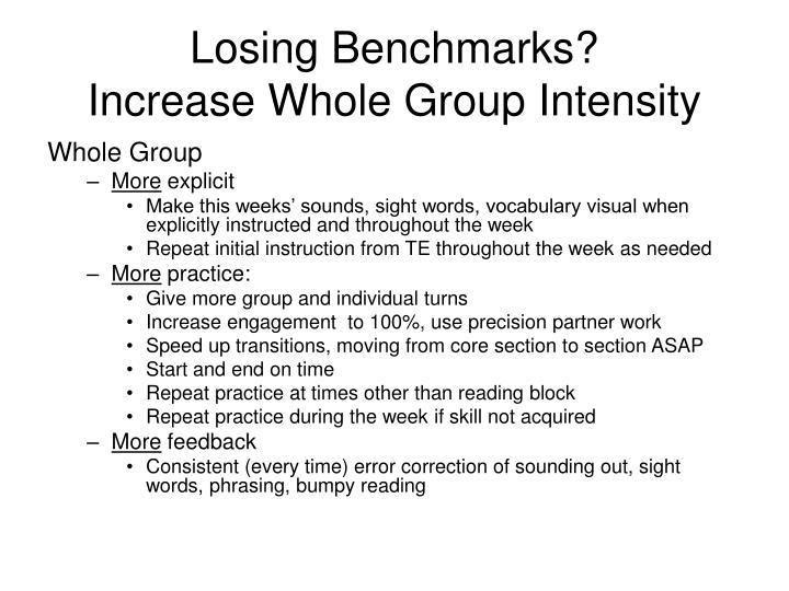 Losing Benchmarks?