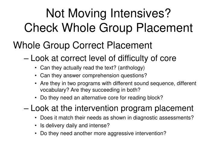 Not Moving Intensives?