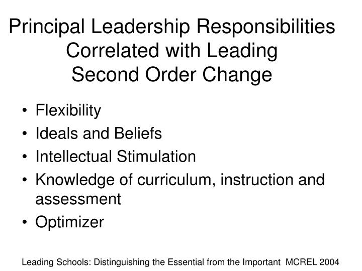 Principal leadership responsibilities correlated with leading second order change
