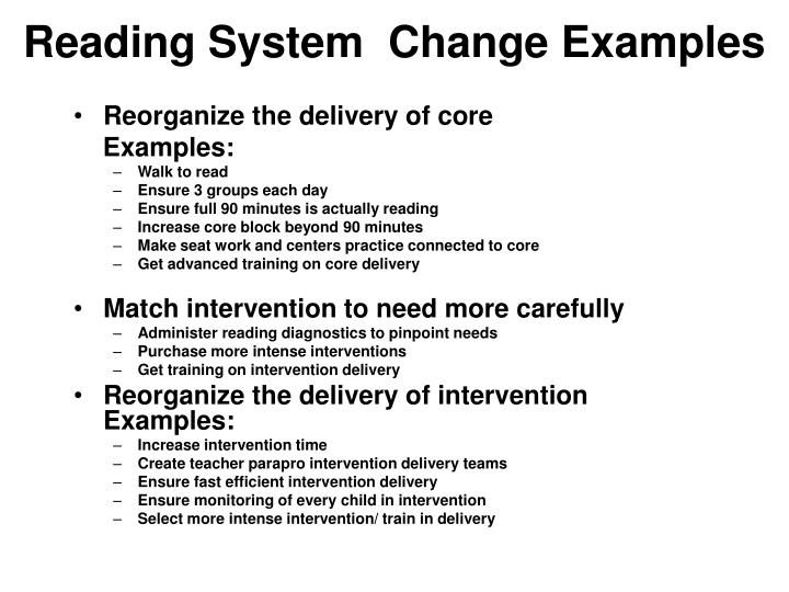 Reading System  Change Examples