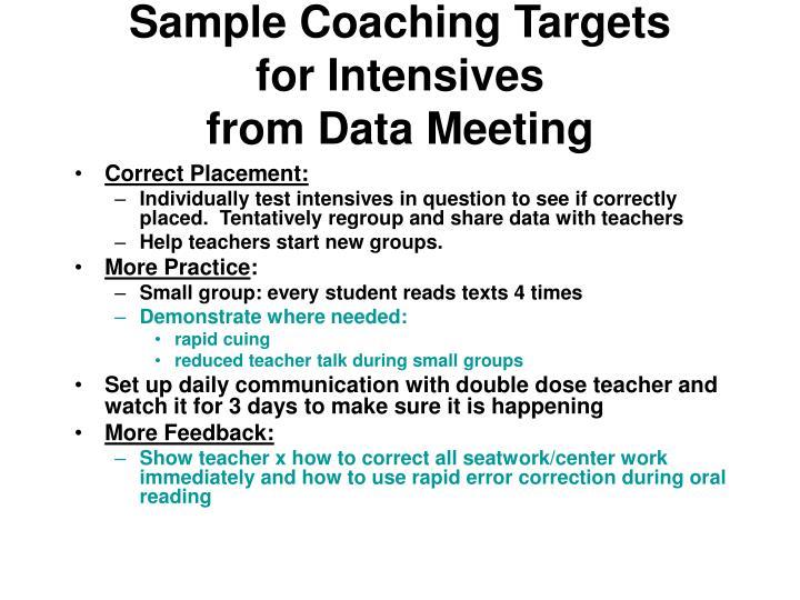 Sample Coaching Targets
