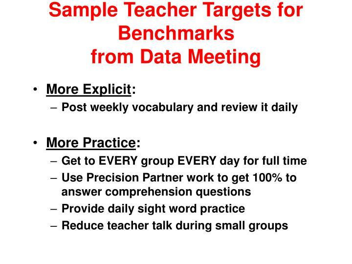 Sample Teacher Targets for Benchmarks