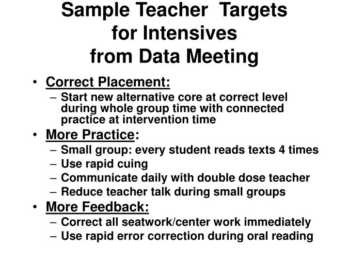 Sample Teacher  Targets