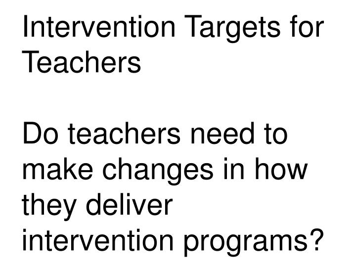 Intervention Targets for Teachers