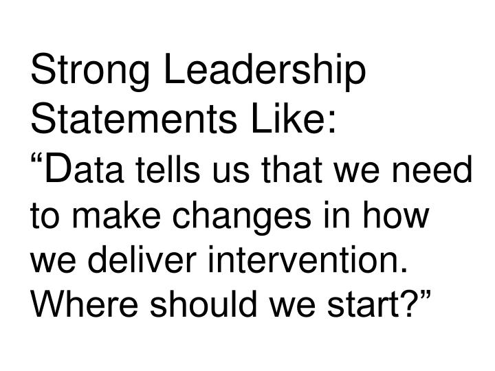 Strong Leadership Statements Like: