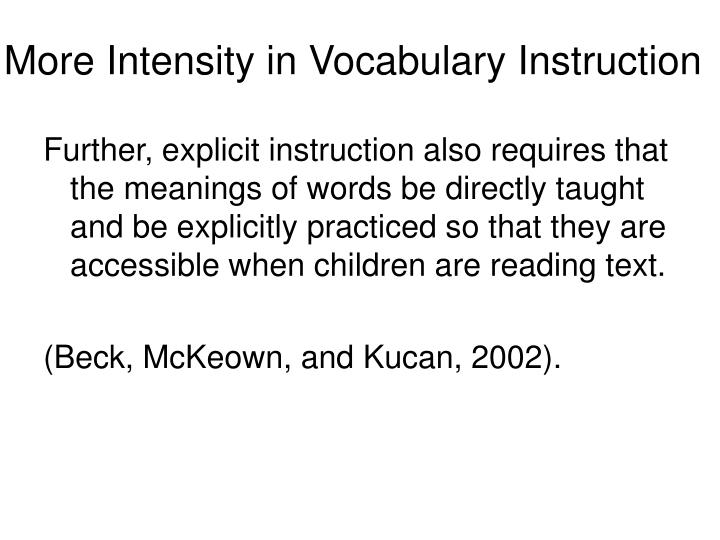 More Intensity in Vocabulary Instruction