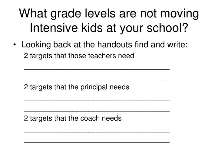 What grade levels are not moving Intensive kids at your school?