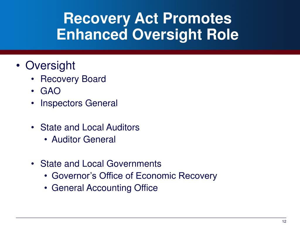 Recovery Act Promotes