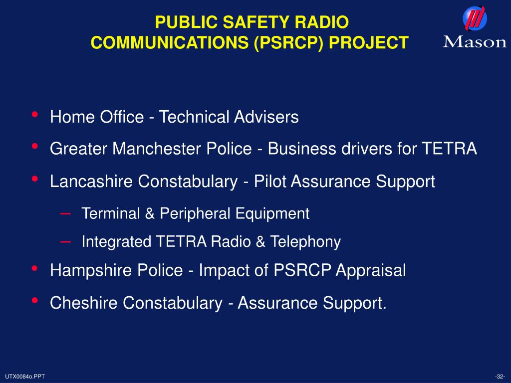 PUBLIC SAFETY RADIO COMMUNICATIONS (PSRCP) PROJECT