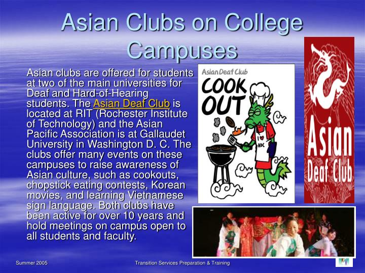 Asian Clubs on College Campuses