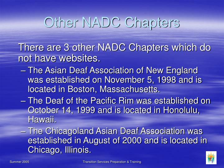 Other NADC Chapters