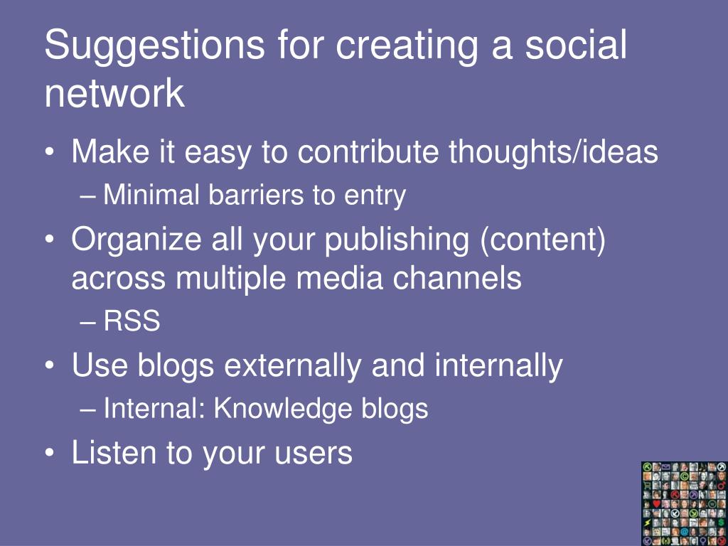 Suggestions for creating a social network