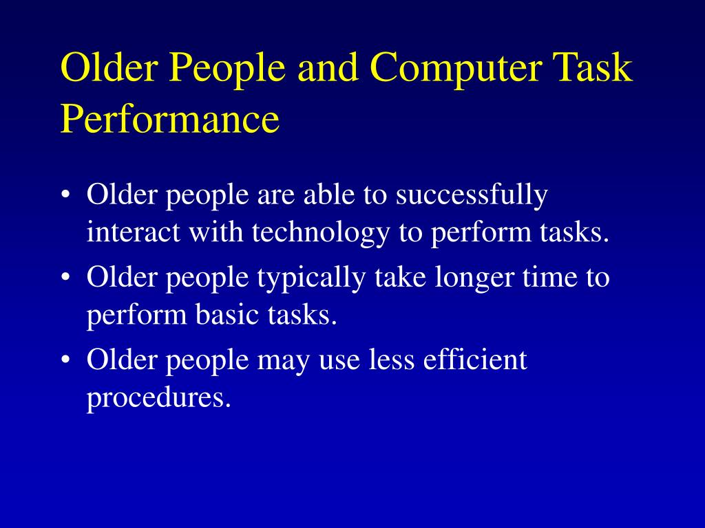 Older People and Computer Task Performance