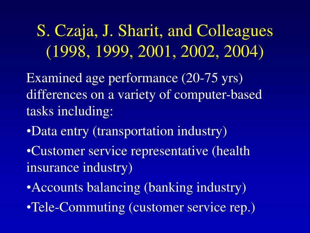 S. Czaja, J. Sharit, and Colleagues (1998, 1999, 2001, 2002, 2004)