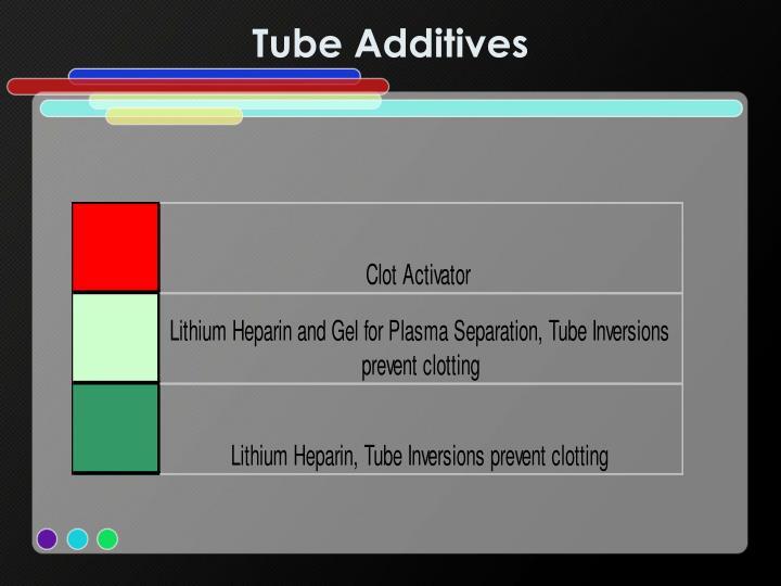 Tube Additives