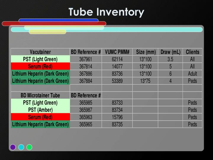Tube Inventory
