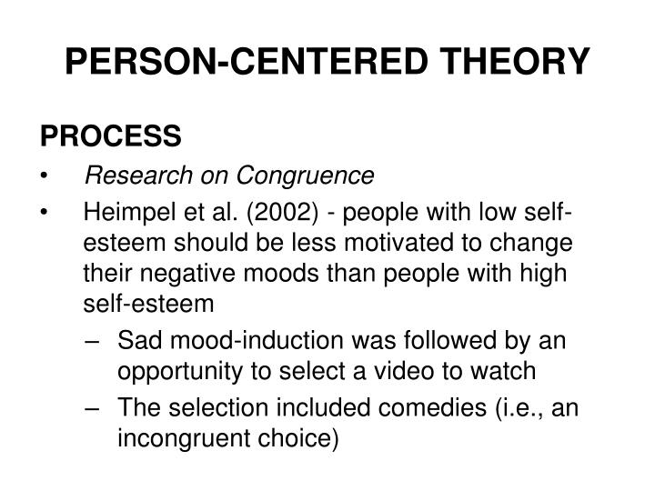 person centered theory Definition client-centered therapy, which is also known as person-centered, non-directive, or rogerian therapy, is a counseling approach that requires the client to take an active role in.
