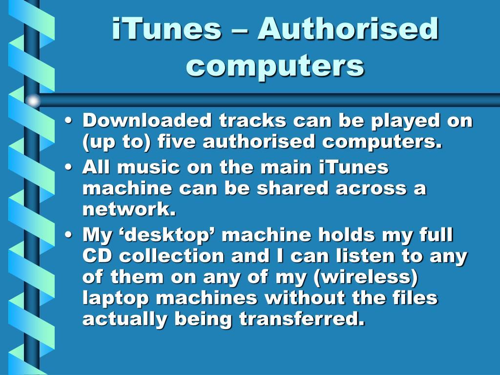 iTunes – Authorised computers