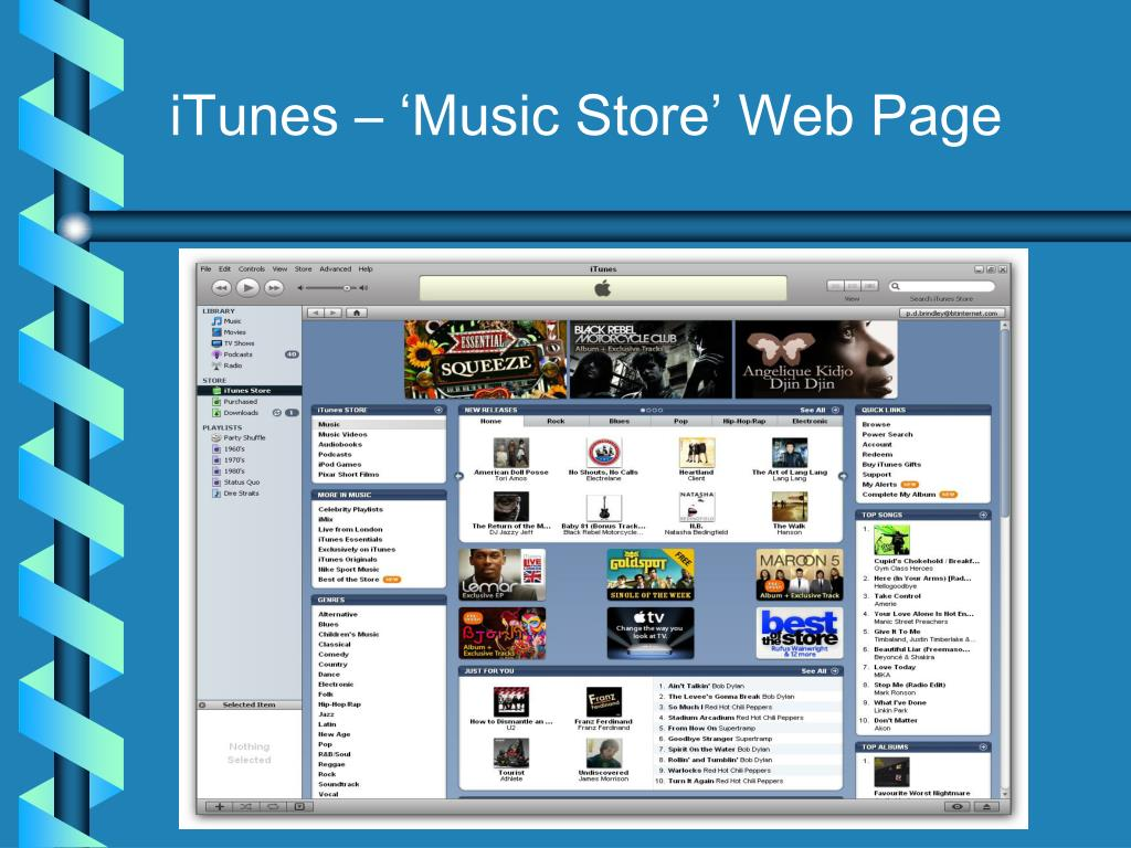 iTunes – 'Music Store' Web Page