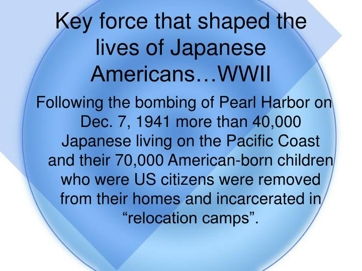 Key force that shaped the lives of Japanese Americans…WWII