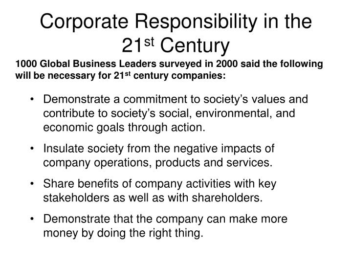 Corporate Responsibility in the 21