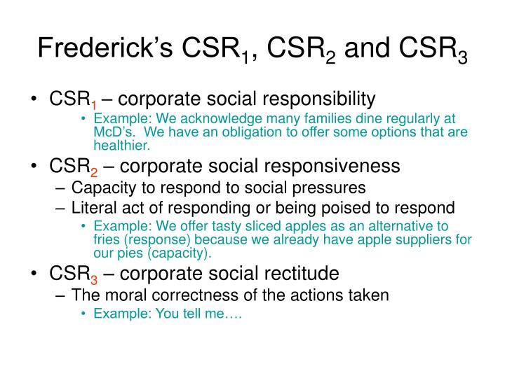 Frederick's CSR