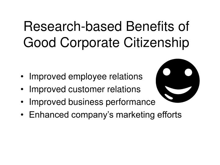 Research-based Benefits of Good Corporate Citizenship