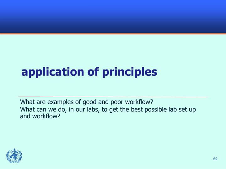 application of principles