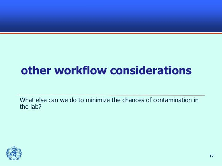 other workflow considerations