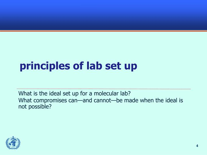 principles of lab set up